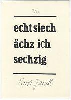 """Ernst Jandl, aus """"Festbündel"""", handsign."""