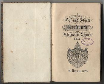 Buchankauf München : Hof- und Staatshandbuch des Königreichs Bayern, 1852 // Antiquariat Joseph Steutzger / www.steutzger.net