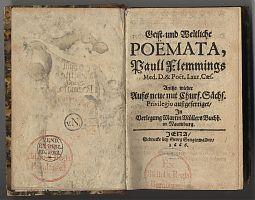 Paul Fleming: Poemata. - Jena, 1666 / Antiquariat Joseph Steutzger
