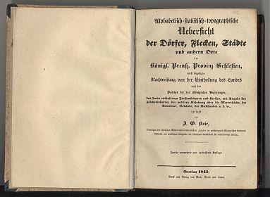 Knie: Schlesien, Übersicht Dörfer, Flecken, Städte, 1845 - Antiquariat Steutzger / Wasserburg am Inn